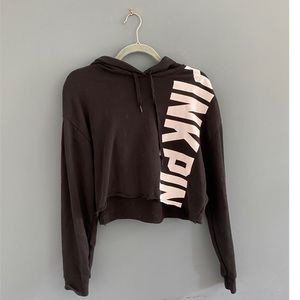 PINK Victoria's Secret; Black Cropped Hoodie